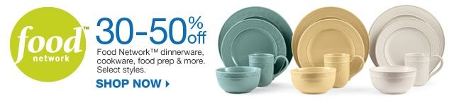 Food Network. 30-50% off Food Network dinnerware, cookware, food prep & more. Select styles. Shop now.