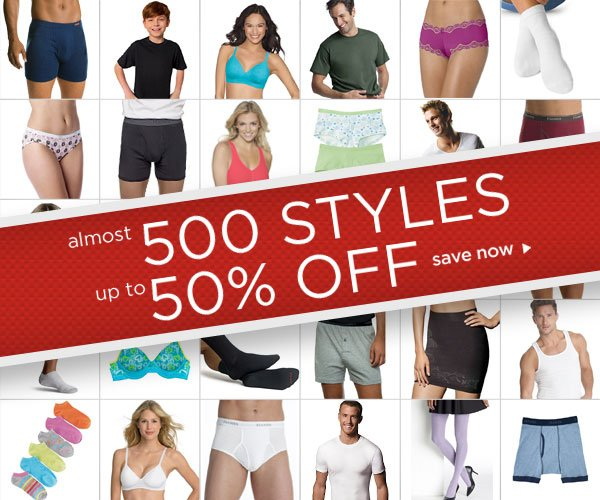 Up to 50% off almost 500 underwear styles