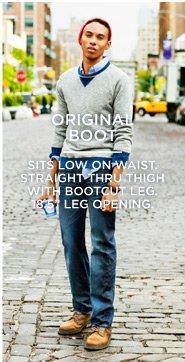 "Original Boot | Sits Low On Waist. Straight Thru Thigh With Bootcut Leg. 18.5"" Leg Opening."
