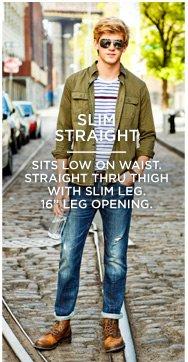"Slim Straight | Sits Low On Waist. Straight Thru Thigh With Slim Leg. 16"" Leg Opening."