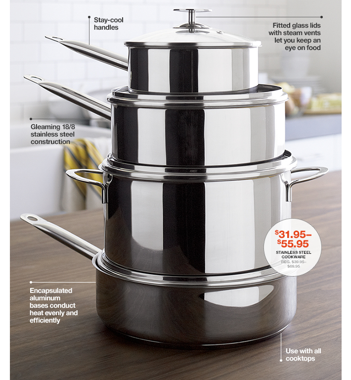 Stainless Steel Cookware $31.95-55.95 Reg.  $39.95-$69.95