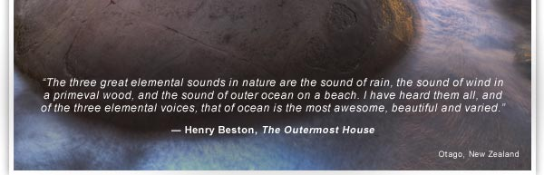 The three great elemental sounds in nature are the sound of rain, the sound of wind in a primeval wood, and the sound of outer ocean on a beach. I have heard them all, and of the three elemental voices, that of ocean is the most awesome,  beautiful and varied. - Henry Beston, The Outermost House