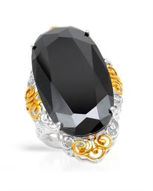 Ladies Crystal Ring Made Of 925 Two Tone Sterling Silver