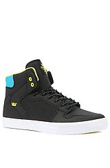Vaider Sneaker in Black Tuf, Turquoise and Yellow Accents