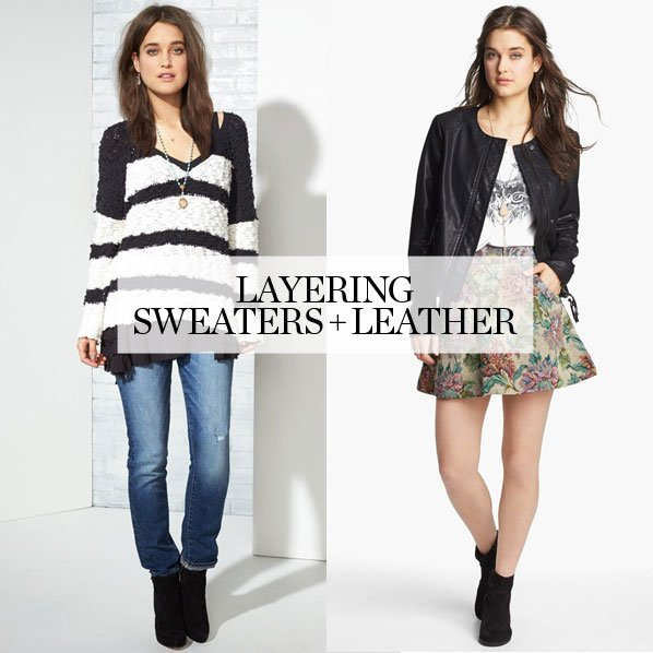 LAYERING - SWEATERS + LEATHER