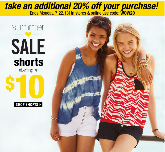 dELiA*s love DEALS - shorts  starting at $10
