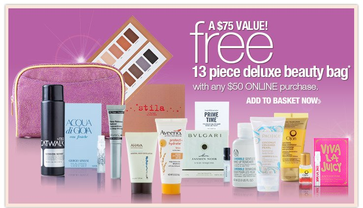 FREE 13 piece Deluxe Beauty Bag! A $75 Value! with any $50 ONLINE purchase. SHOP NOW