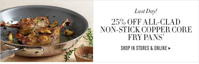 Last Day! 25% OFF ALL-CLAD NON-STICK COPPER CORE FRY PANS* -- SHOP IN STORES & ONLINE