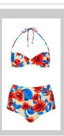 Blue Floral Underwired Bikini
