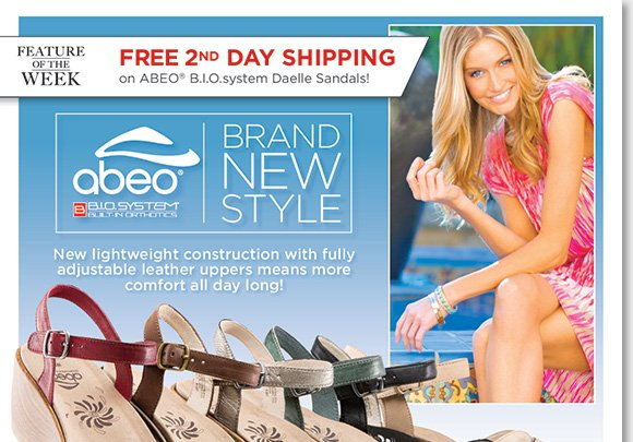 NEW Feature of the Week: Enjoy FREE 2nd day shipping on the stylish NEW ABEO B.I.O.system 'Daelle' sandals featuring a lightweight construction, and adjustable leather uppers for all-day comfort with a 3-D fit. Shop now to find the best selection online and in stores at The Walking Company!
