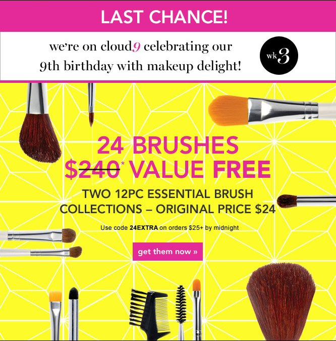 24 Brushes Free. Code: 24extra - shop now