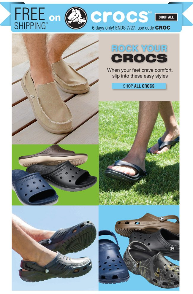Free Shipping with any purchase of Crocs