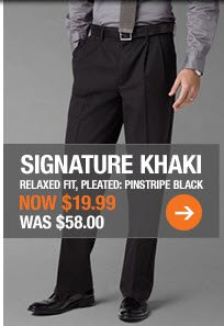 SIGNATURE KHAKI: PINSTRIPE BLACK - NOW $19.99, Was $58.00
