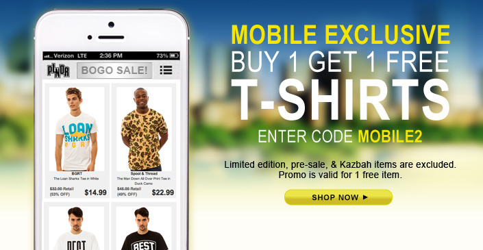 Mobile App Exclusive: Tee Shirt BOGO Sale with code MOBILE2