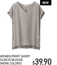 WOMEN PRINT SHORT SLEEVE BLOUSE