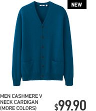 MEN CASHMERE V NECK CARDIGAN