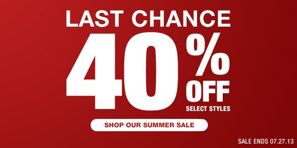 Shop our Summer Sale - 40% off Selected Styles - Hero