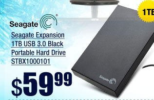 Seagate Expansion 1TB USB 3.0 Black Portable Hard Drive STBX1000101
