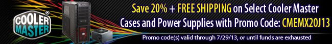 Save 20% + Free Shipping on select CoolerMaster Cases and Power Supplies with Promo Code