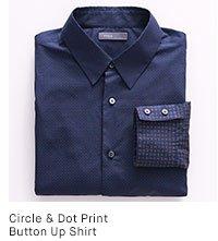 Circle & Dot Print Button Up Shirt