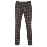 Khaki Houndstooth Print Trousers