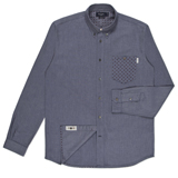 Grey Standard-Fit Polka Dot Pocket Oxford Shirt