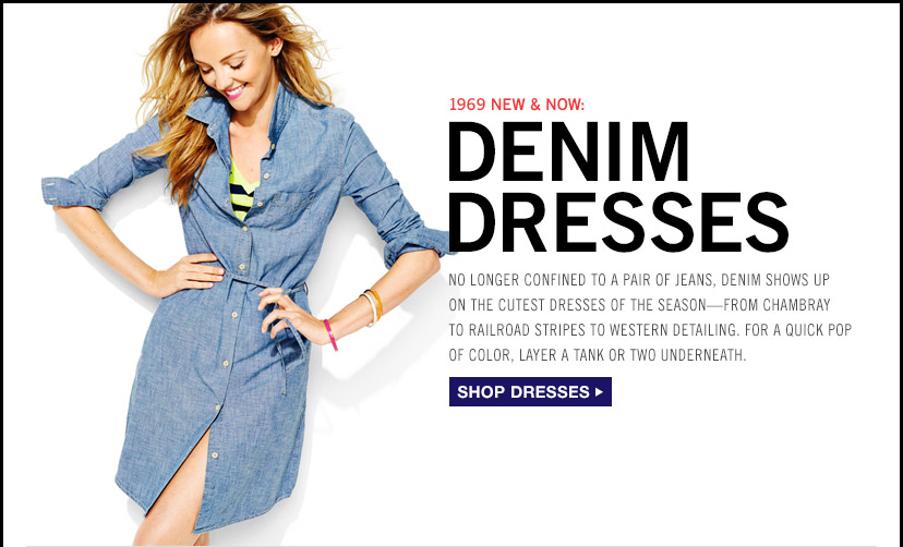 1969 NEW & NOW: DENIM DRESSES   SHOP DRESSES