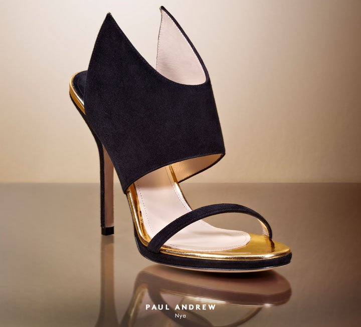 Get the golden touch: Shop heels and sandals by Paul Andrew and more.