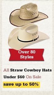All Straw Cowboy Hats Under 60 on Sale