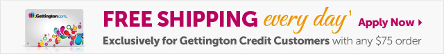 Free Shipping every day1 Exclusively for Gettington Credit Customers with any $75 order - Apply Now