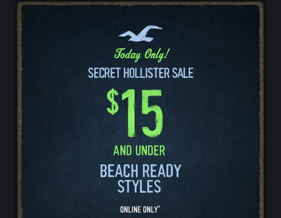 Today Only! SECRET  HOLLISTER SALE $15 AND UNDER BEACH READY STYLES ONLINE ONLY*