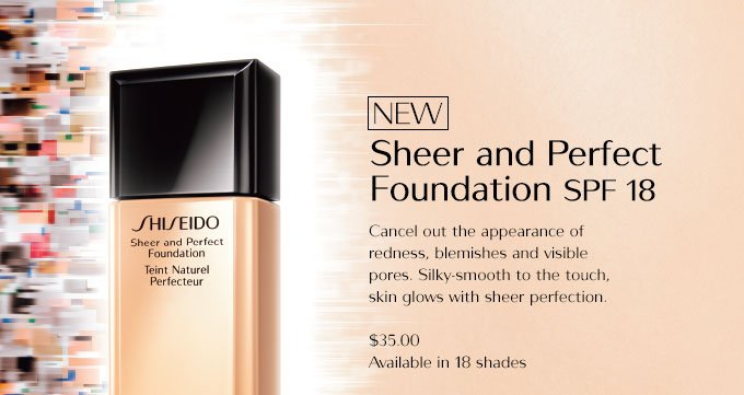 NEW! Sheer and Perfect Foundation SPF 18