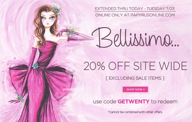 Extended Thru Today - Tuesday, 7/23  Save 20% Off Sitewide*  [excluding sale items]   Use code GETWENTY to redeem   *One day sale applies to full-priced merchandise & custom printing only.   Shop online at www.papyrusonline.com