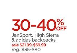 30-40% OFF JanSport, High Sierra & adidas backpacks sale $21.99-$59.99 reg. $35-$80
