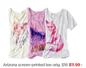 Arizona screen-printed tee orig. $16 $11.99›