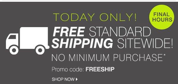 FINAL HOURS FREE standard shipping sitewide NO MINIMUM* Promo code: FREESHIP