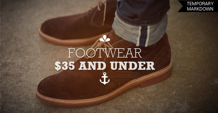 Click to Shop Footwear for $35 or less.