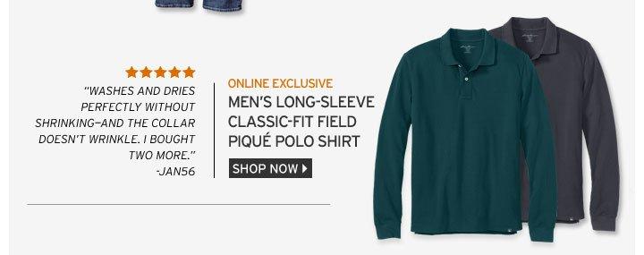 Long-sleeve Classic-Fit Field Piqué Polo Shirt