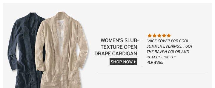 Slub-Texture Open Drape Cardigan