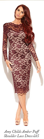 Amy Childs Amber Puff Shoulder Lace Dress