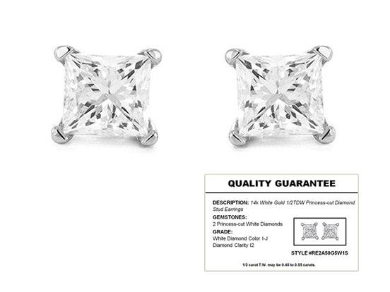 1/2 CTTW Diamond 14K White Gold Stud Earrings with Quality Guarantee Card