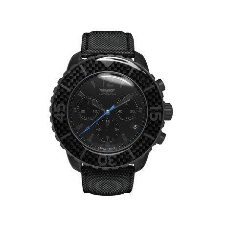 Black + Carbon Fiber Chrono w/ Additional Straps