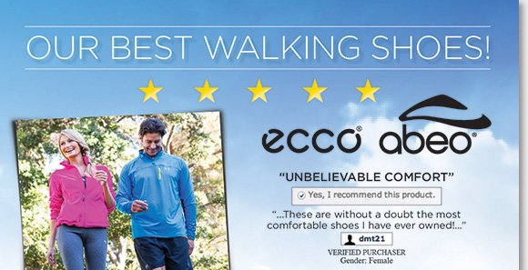 Experience the incredible comfort of the top rated ECCO Biom, ABEO AEROsystem, and ABEO SMARTsystem walking shoes featuring the latest comfort technology. Available for women and men, shop now to find the best selection online and in stores at The Walking Company.