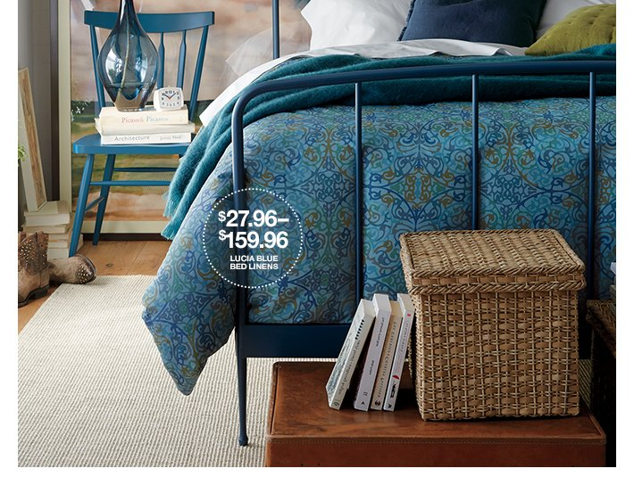 Lucia Blue Bed Linen $27.96-$159.96