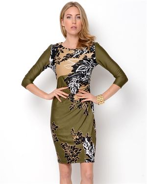 AA Studio Printed 3/4 Sleeve Dress
