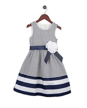 Joe Ella Flower Detail Nautical Girls Cotton Dress
