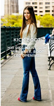 Kick Boot | Mid Rise Waist. Slim Thru Knee. Boot Leg Opening.