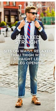 "Relaxed Straight | Sits On Waist. Relaxed Thru Thigh With Straight Leg. 17"" Leg Opening."