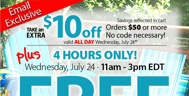 save an extra $10 off $50 or more