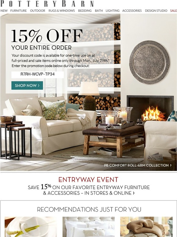 Pottery Barn 15 Off Continues Just For You Milled